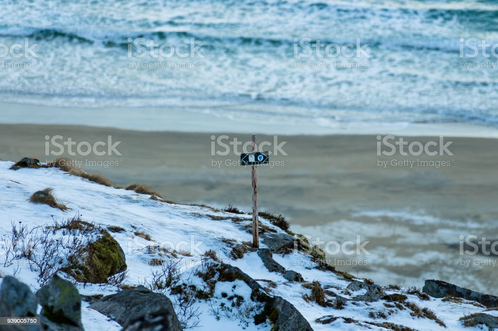Kvalvika Beach Lofoten, Norveç royalty-free stock photo