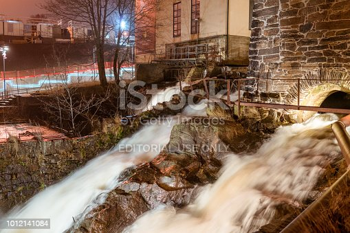 Molndal, Sweden - December 25, 2016: Kvarnby is an old industrial area, and before that agricultural, powered by the water