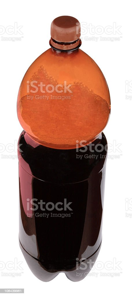kvass in bottle with brown cup royalty-free stock photo