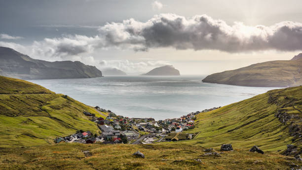 Kvivik Village Faroe Islands Fjord Streymoy Island Koltur Island Panorama View stock photo