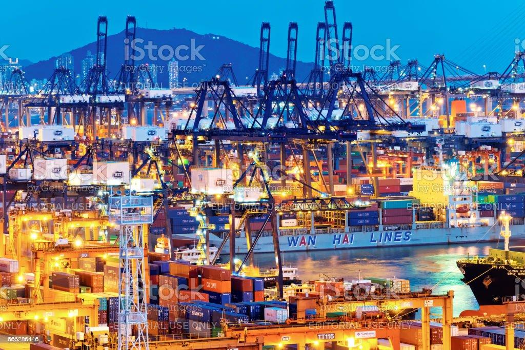 Kwai Chung Container Teminals, Hong Kong. stock photo
