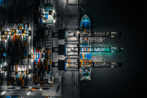 Kwai Tsing Container Terminals at night, Hong Kong