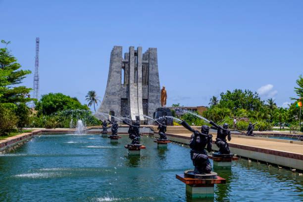 Kwame Nkrumah Memorial Park and fountains stock photo