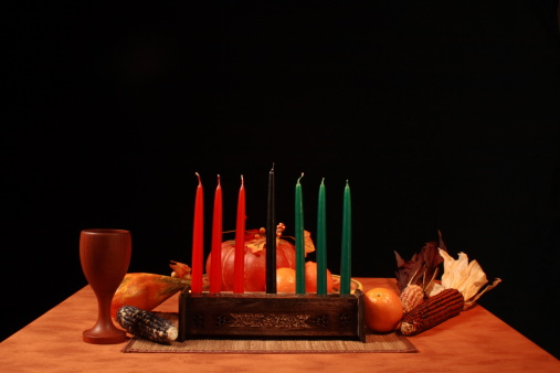 Kwanza Table Unlit Candles Low Angle