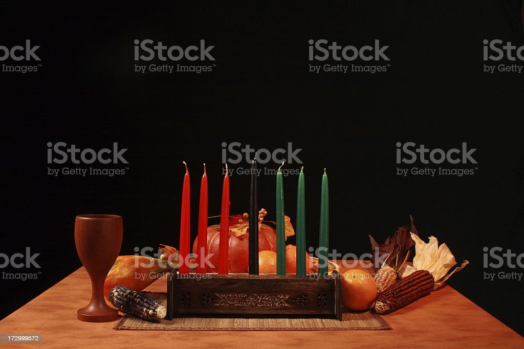Kwanza Table Unlit Candles Low Angle stock photo