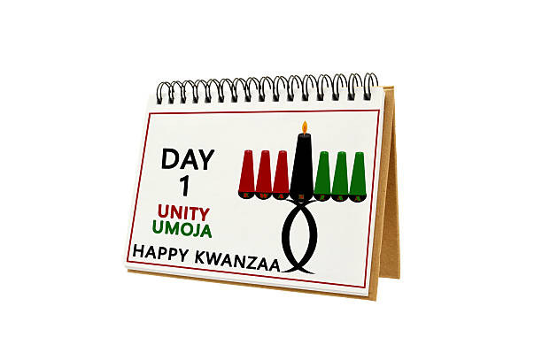 Kwanzaa Day 1 Unity Umoja Calendar - foto de acervo