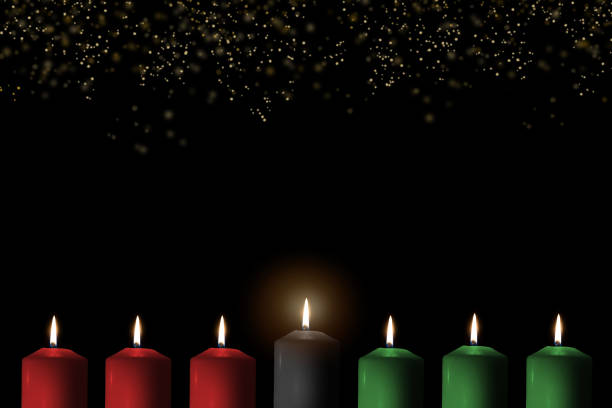 kwanzaa for african-american cultural holiday celebration with candle light of seven candle sticks in black, green, red symbolising 7 principles of african heritage (nguzo saba) - kwanzaa stock pictures, royalty-free photos & images
