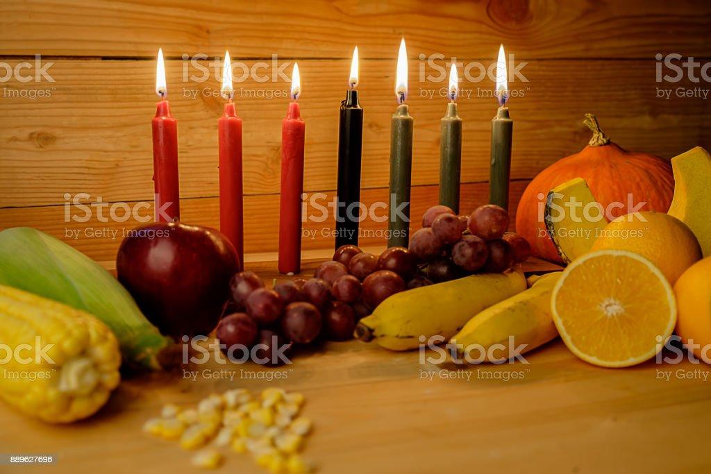 Kwanzaa Ferienkonzept Mit Dekorieren Sieben Kerzen Rot Schwarz Und
