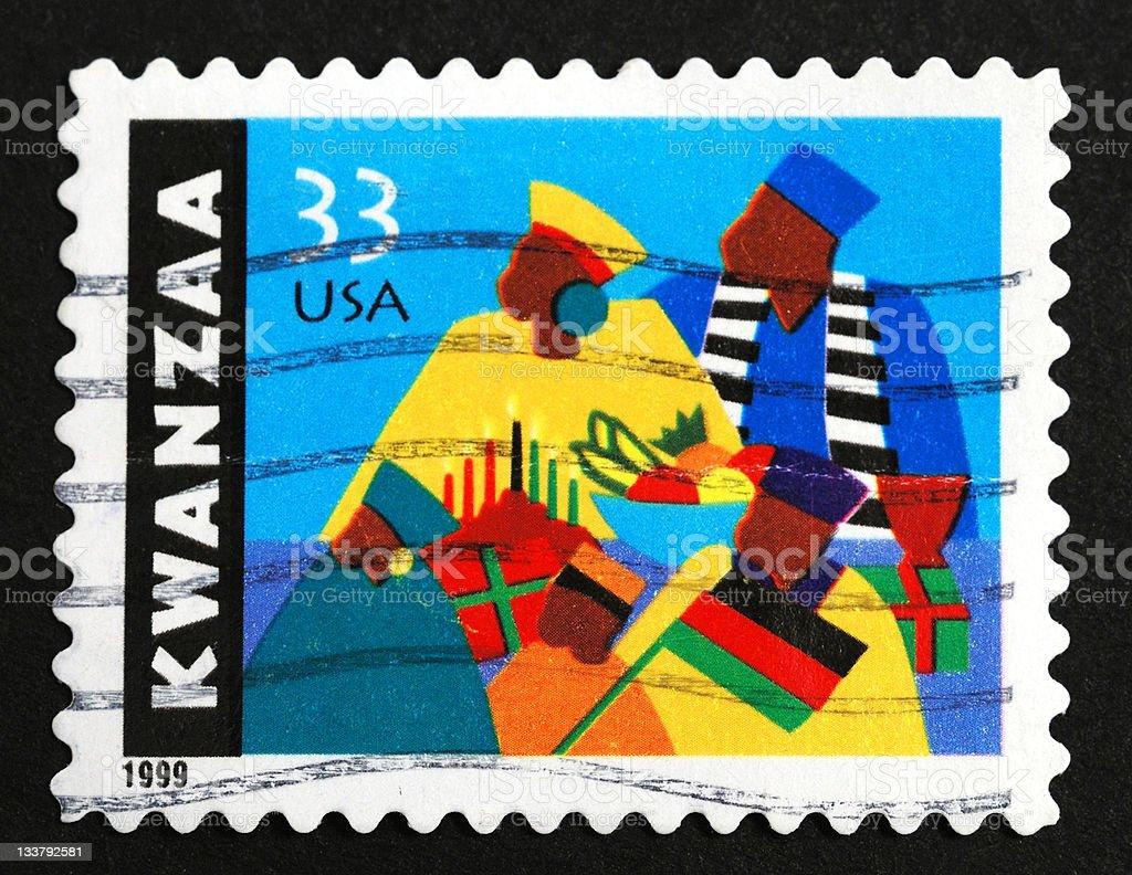 Kwanzaa postage stamp stock photo