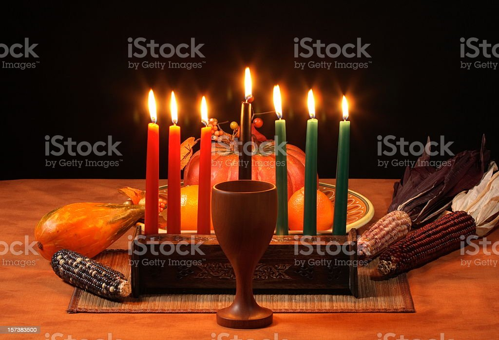 Kwanzaa Table Candles Glowing  Africa Stock Photo