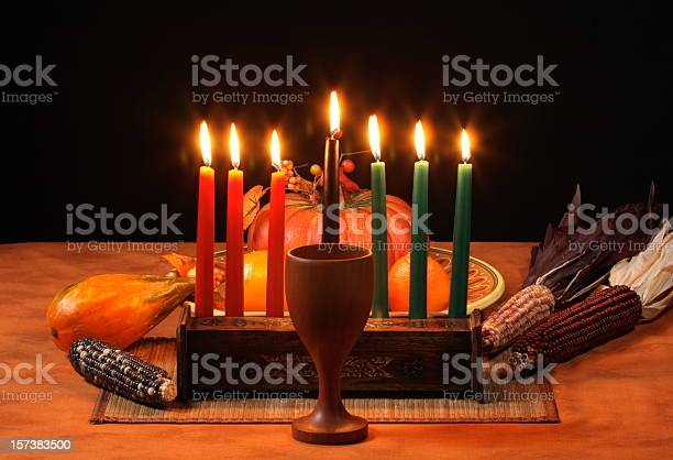 Kwanzaa Table Candles Glowing Stock Photo - Download Image Now