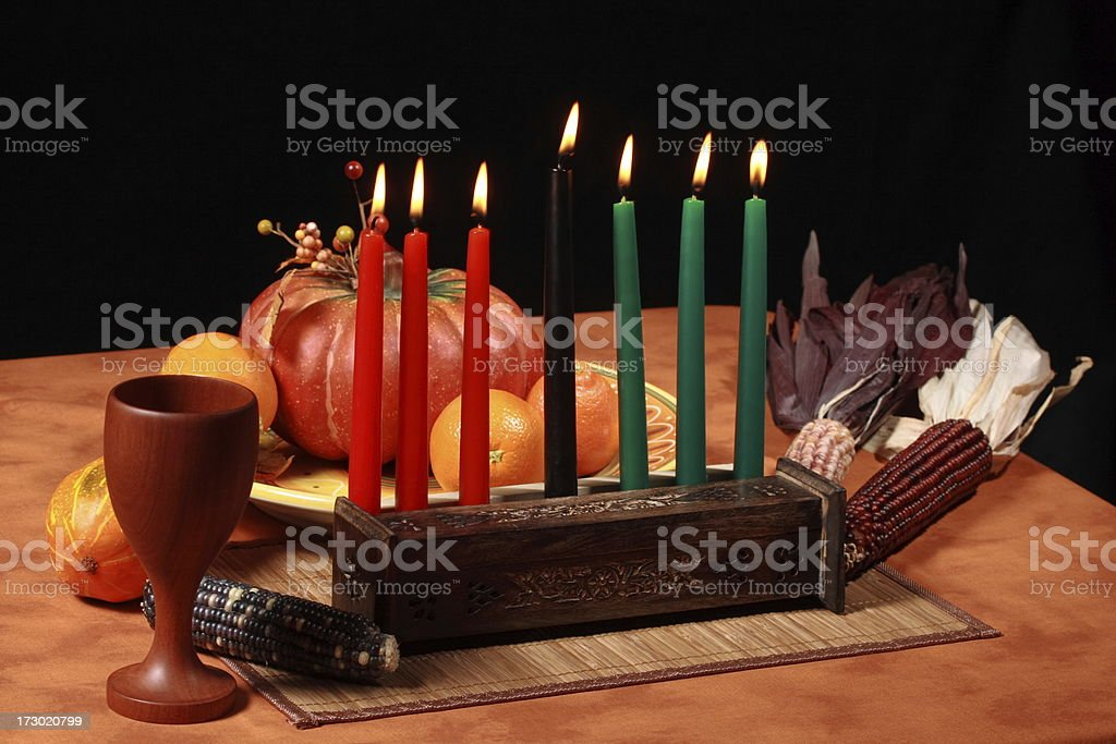 Kwanzaa Table Candles Lit royalty-free stock photo