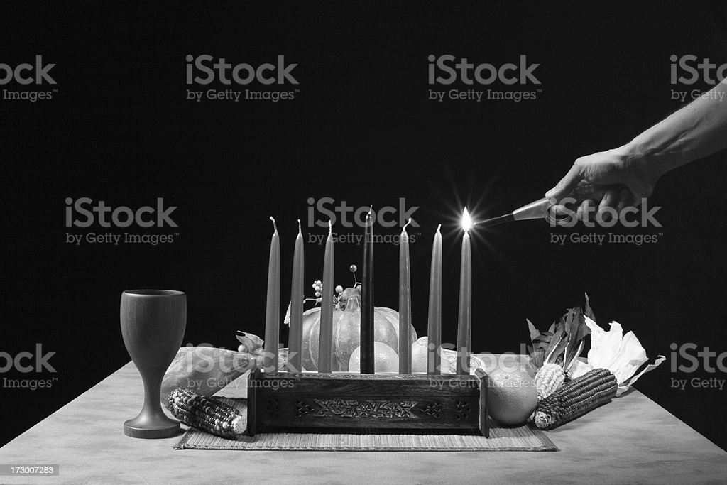 Kwanzaa Table Lighting Candlesticks in B&W royalty-free stock photo