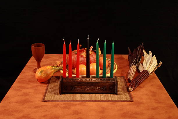 kwanzaa table unlit candles - kwanzaa stock pictures, royalty-free photos & images