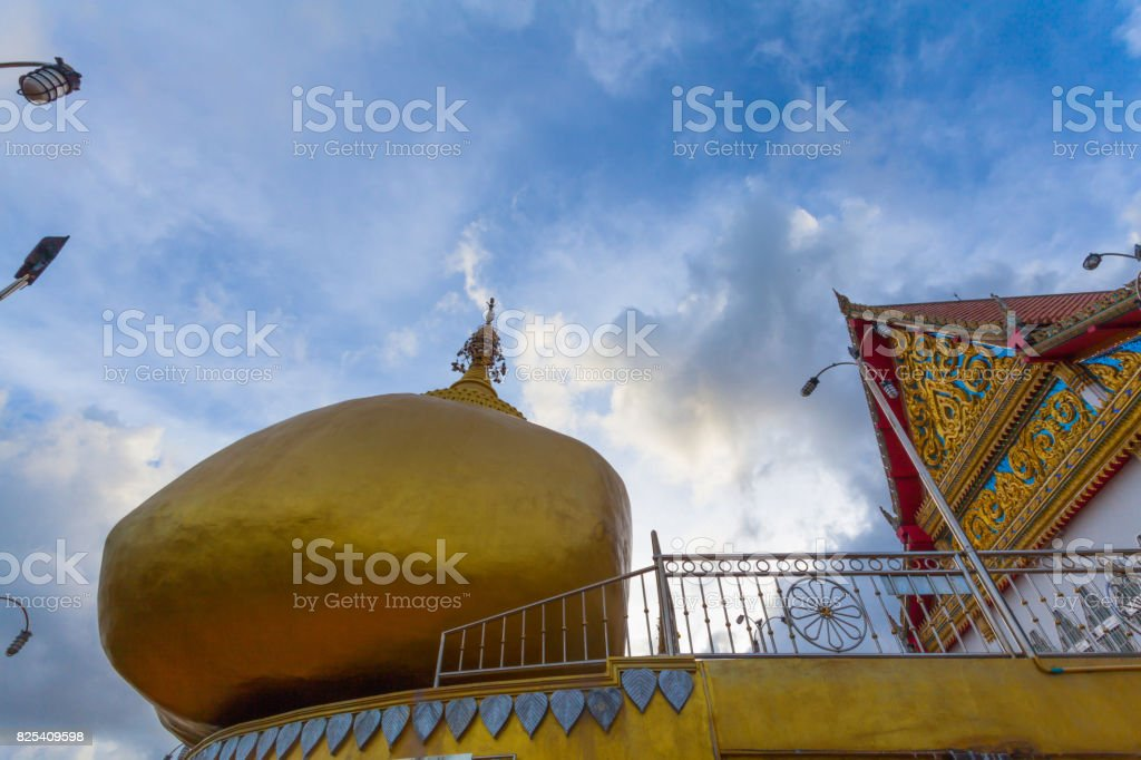 Kyaikhtiyo golden rock on mountain stock photo