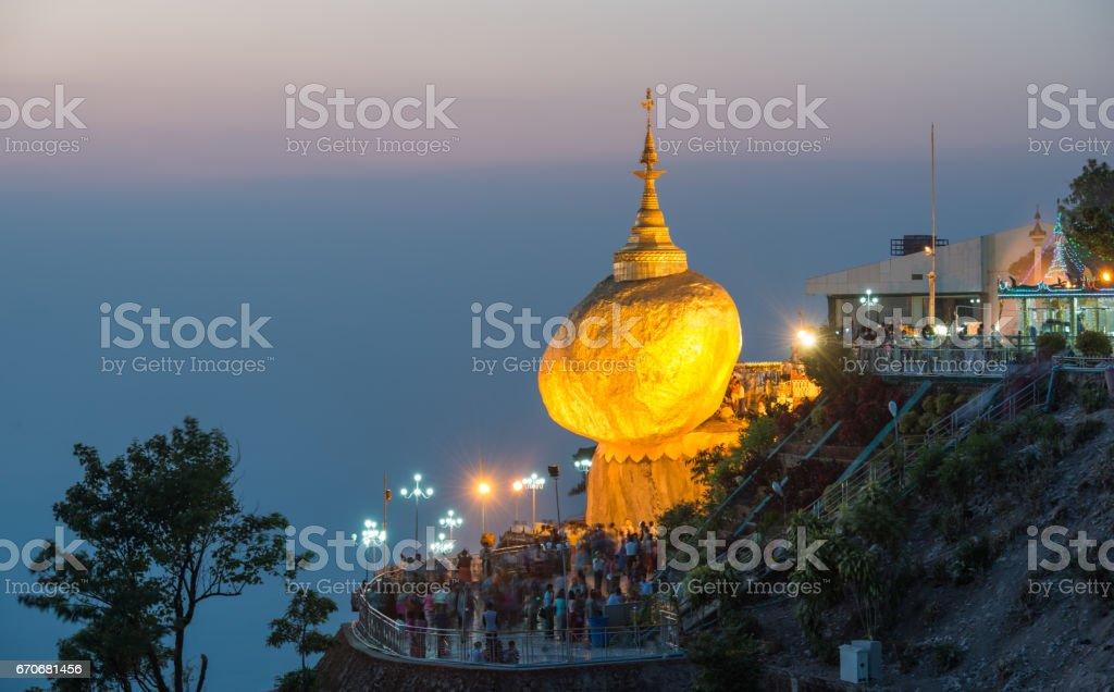 Kyaikhtiyo pagoda, Golden Rock, Myanmar stock photo