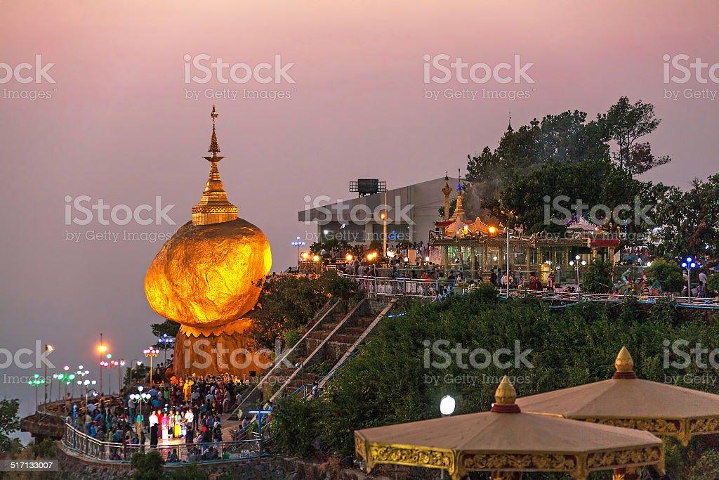 Kyaiktiyo Pagoda Sunset stock photo