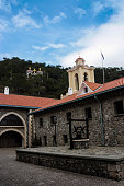 The courtyard and bell tower of Kykkos Monastery, in the Troodos Mountains in central Cyprus.