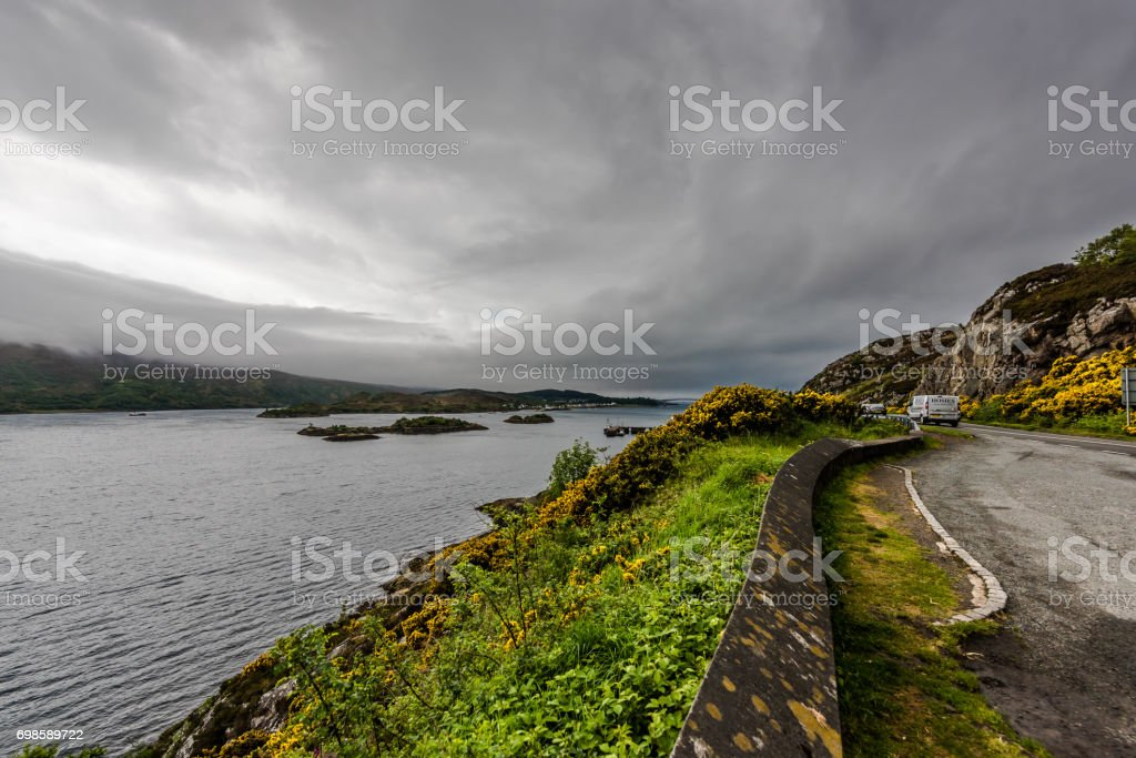 Kyle of Lochalsh - drive along the Loch stock photo