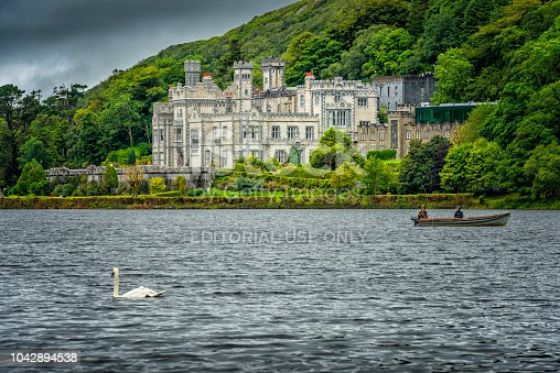 Connemara, Ireland - August 06, 2018: Kylemore Abbey, Co. Galway in Irland. Founded in 1665. Ready built in 1871.
