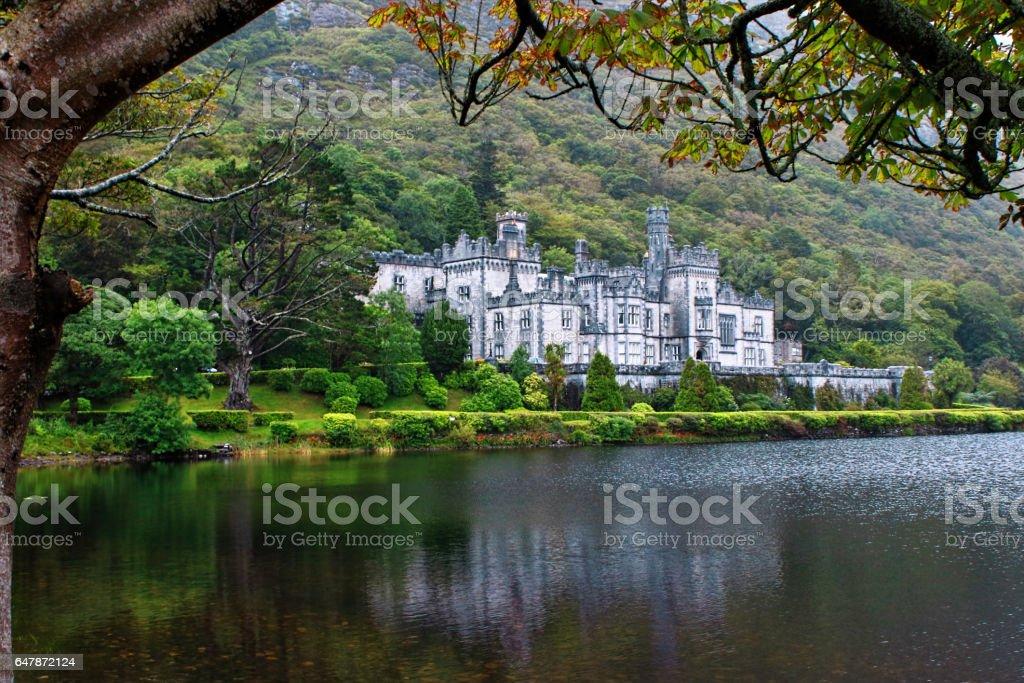 Kylemore Abbey in Connemara mountains, Ireland stock photo