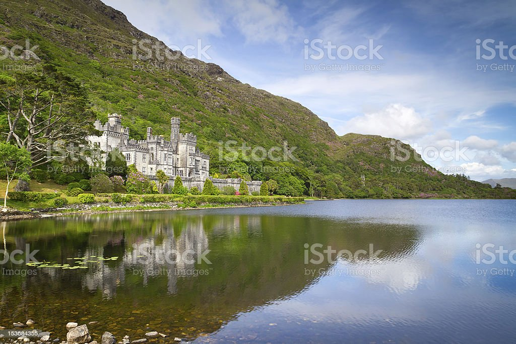 Kylemore Abbey in Connemara mountains stock photo
