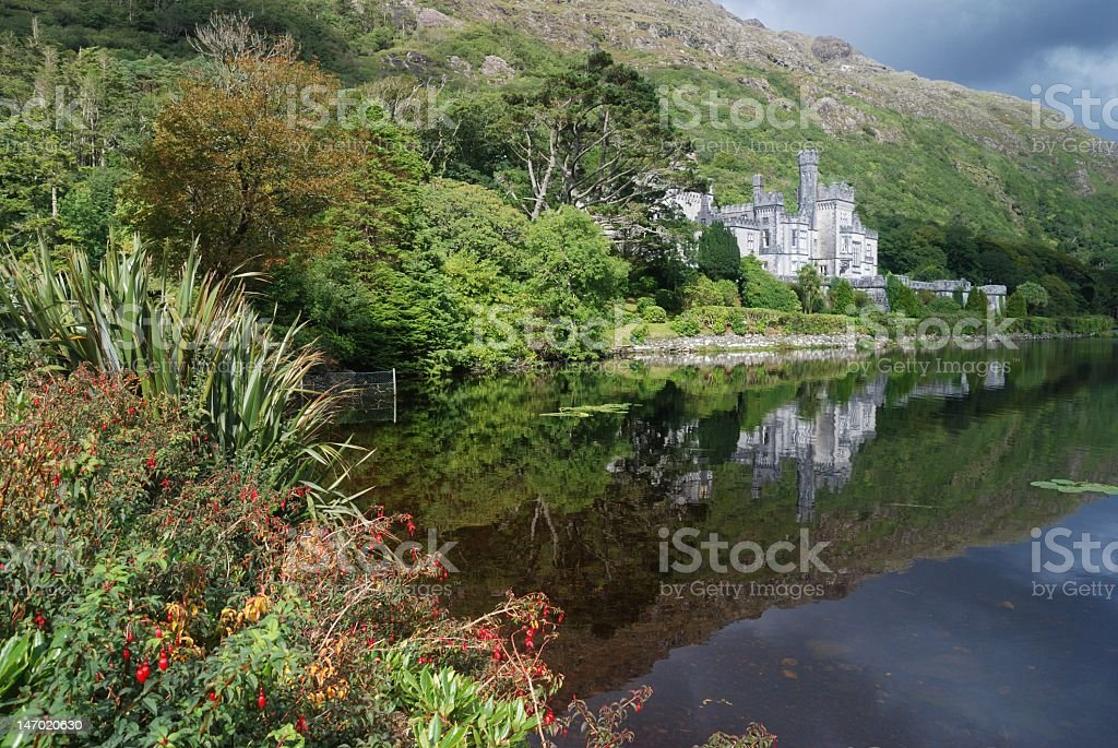 Kylemore abbey in green nature stock photo