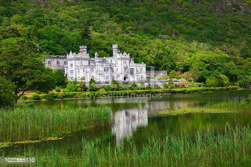 Kylemore Abbey on the lake. National park Connemara in Ireland.