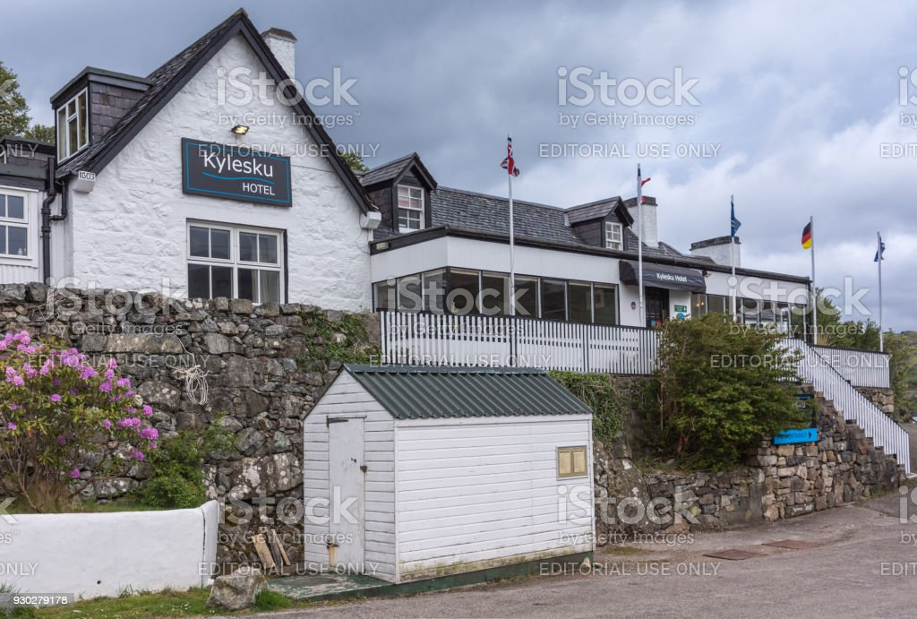 Kylesku Hotel front facade, Scotland. stock photo