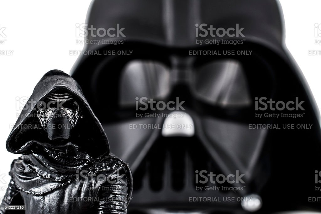 Kylo Ren and Darth Vader action figures stock photo