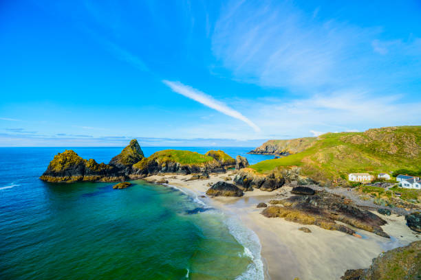 Kynance Cove and Beach near The Lizard Peninsula, Cornwall, England stock photo