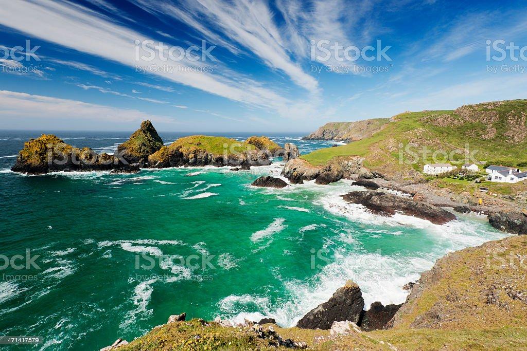 Kynance Cove Bay and Beach in Cornwall UK stock photo