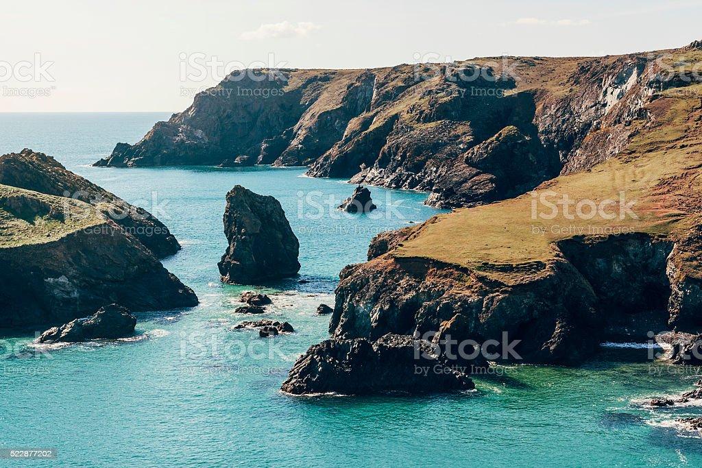 Kynance Cove coastline on the Lizard Peninsular in Cornwall stock photo