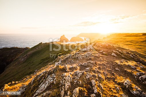 Kynance cove in Cornwall/ England at sunet