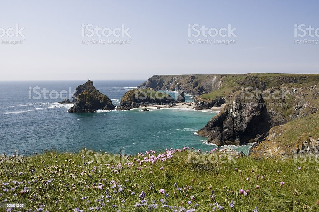 Kynance cove on the coast of Cornwall's Lizard peninsular stock photo