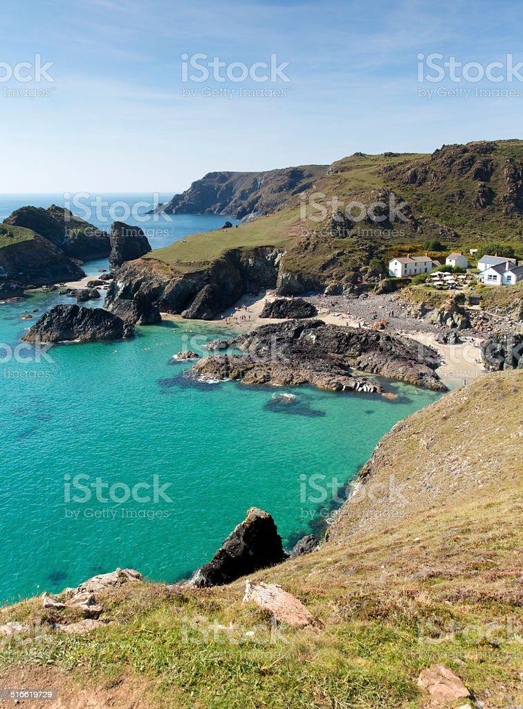 Kynance Cove The Lizard Cornwall England UK turquoise blue sea stock photo