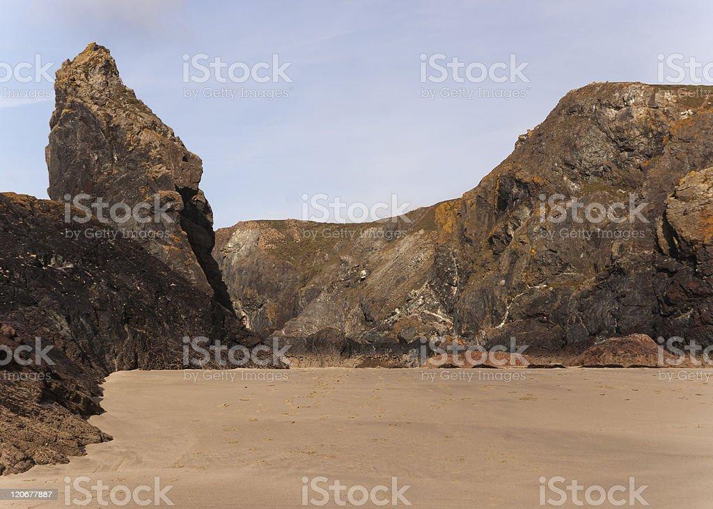 Kynance Cove,Cornwall,beach and cliffs stock photo