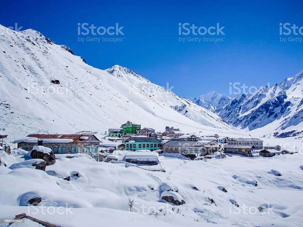 Kyngin Gompa the small village in the mountain stock photo