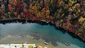 Kyoto arashiyama autumn maple tree forest aerial shot