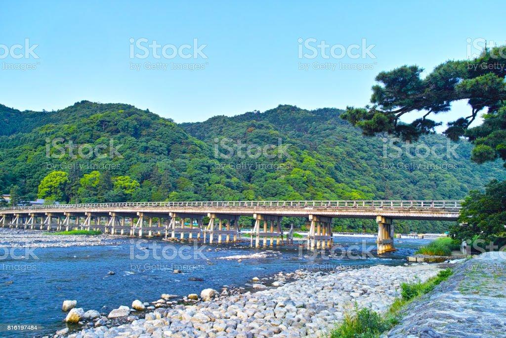 Kyoto Arashiyama Togetu Bridge - foto stock