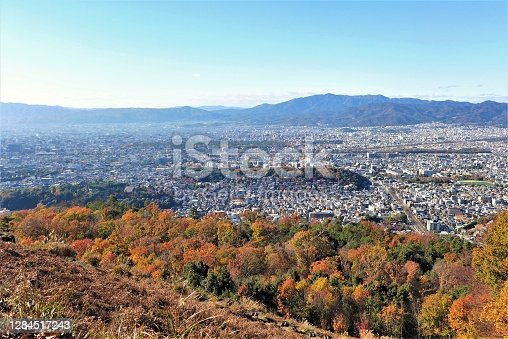 Cityscape of Kyoto in autumn