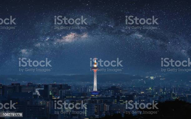Photo of Kyoto city view at night with Kyoto tower and starry sky with milky way