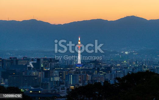 istock Kyoto city view in sunset, with Kyoto tower 1059884292