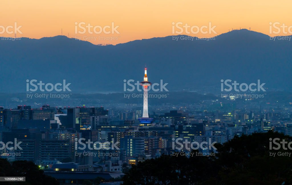 Kyoto city view in sunset, with Kyoto tower stock photo