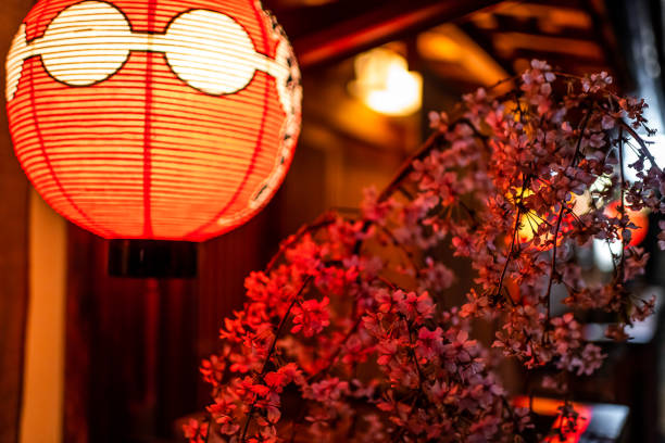 Kyoto, Japan alley colorful street in Gion district at night with closeup of illuminated red paper lantern lamp and cherry blossom sakura flowers decoration stock photo