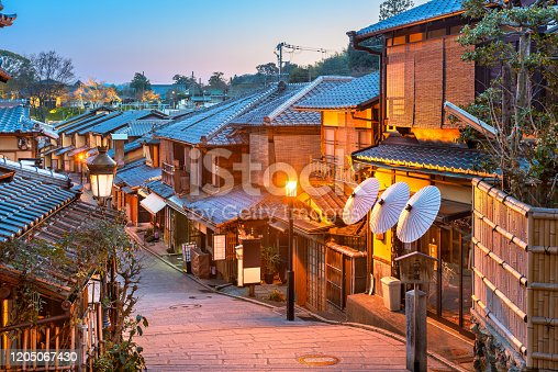 Kyoto, Japan old town streets in the Higashiyama district.