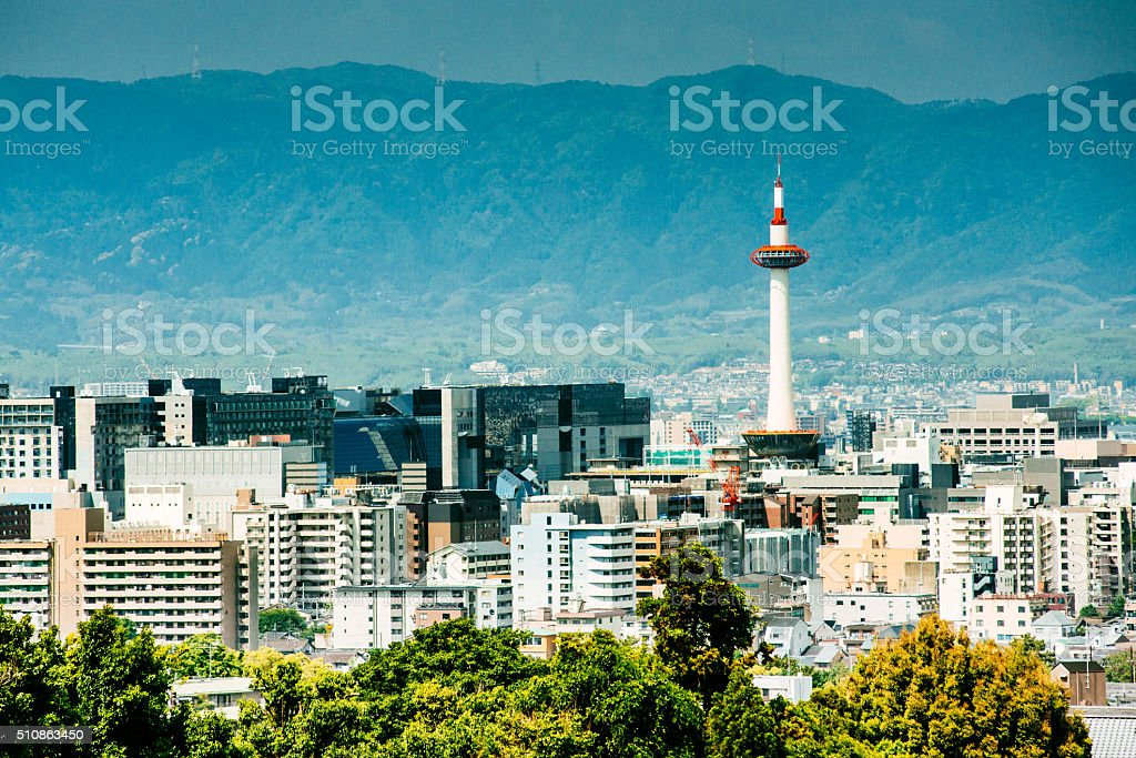 Kyoto Skyline Japan stock photo