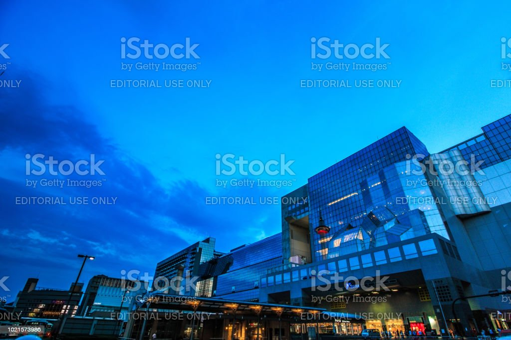 Kyoto Station is a railway station and transportation hub in Kyoto, Japan. stock photo