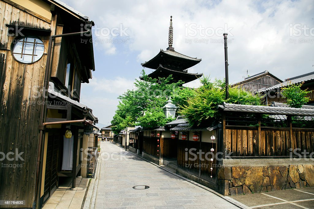 Kyoto, street in a traditional Japanese town stock photo