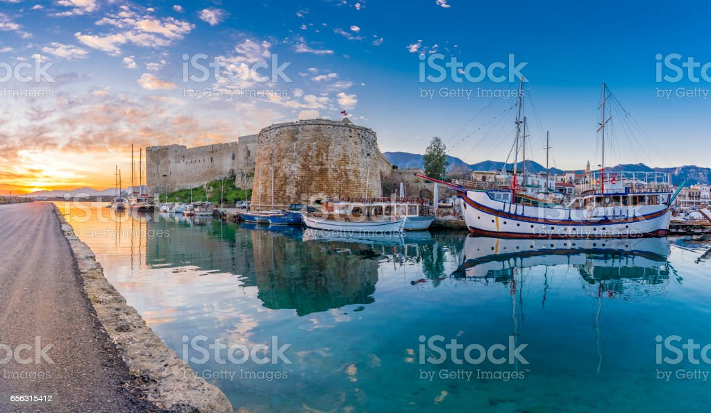 Kyrenia Castle view in Northern Cyprus stock photo